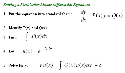 First Order Linear DifferentialEquations