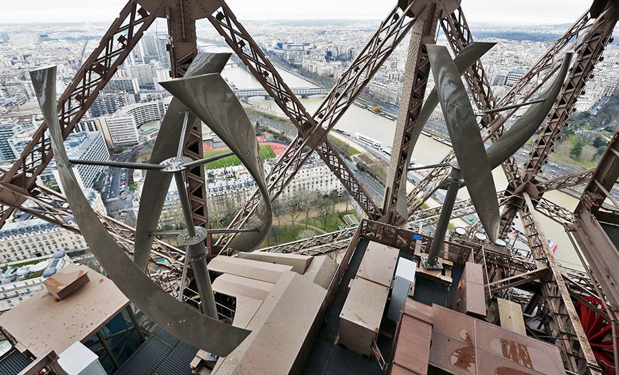 The wind turbines on the Eiffel tower
